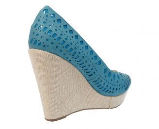 Дамски обувки на платформа еко кожа сини SFMZ-11486