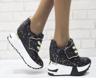 Дамски обувки  на платформа еко кожа /пайети черни KPWQ-25006
