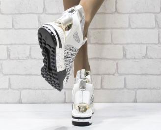 Дамски обувки  на платформа еко кожа /лак/ пайети сребристи SKZR-25007