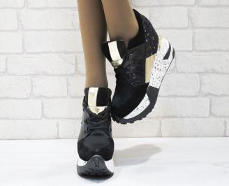 Дамски обувки  на платформа еко велур  пайети черни BBTR-25009