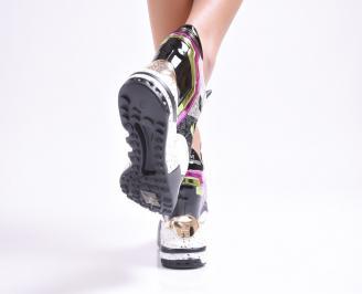 Дамски обувки  на платформа еко кожа /лак  текстил шарени LZON-25010