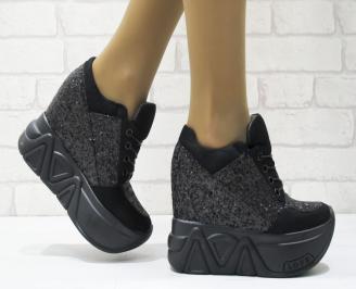 Дамски обувки  на платформа еко велур/маниста черни PNAO-25125