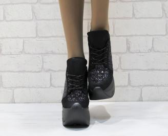 Дамски обувки  на платформа еко набук/маниста черни FNQF-25127