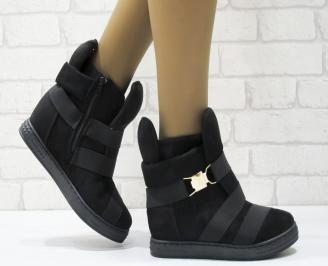 Дамски обувки  на платформа еко набук черни GPFD-25129