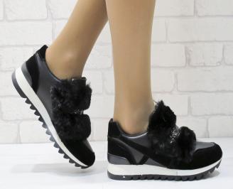 Дамски обувки  на платформа еко кожа / еко набук черни HYIY-25130