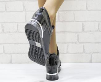 Дамски обувки  на платформа еко лак/текстил черни YCNV-25131
