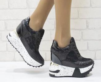 Дамски обувки  на платформа еко лак /текстил черни CYDR-25132