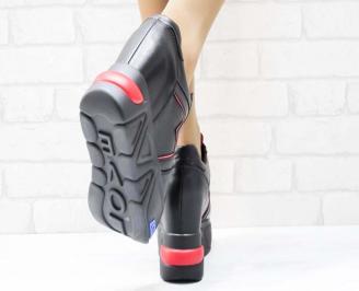 Дамски обувки  на платформа еко кожа черно с червено JCLE-25133