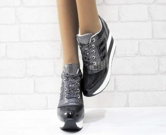 Дамски обувки  на платформа еко лак черни TAGZ-25156