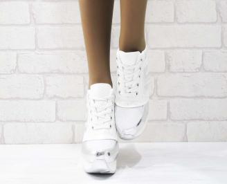 Дамски обувки  на платформа еко кожа/лак бели HVSN-25158