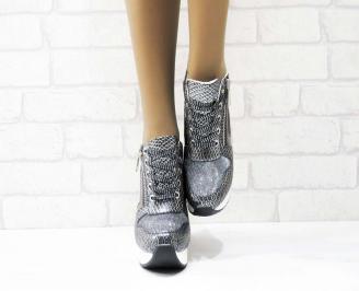 Дамски обувки  на платформа еко кожа/ лак/текстил сребристи FBYZ-25160