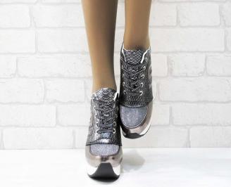 Дамски обувки  на платформа еко кожа/ лак/текстил сребристи PCOC-25161