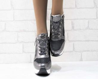 Дамски обувки  на платформа еко кожа/ лак/текстил сребристи 4