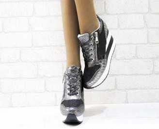Дамски обувки  на платформа еко кожа/ лак/текстил сребристи 5