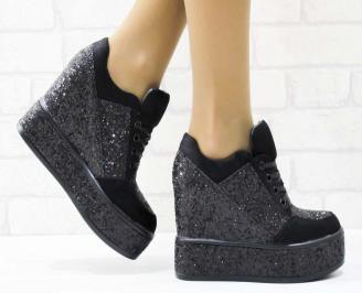 Дамски обувки  на платформа еко кожа черни MEWW-25163