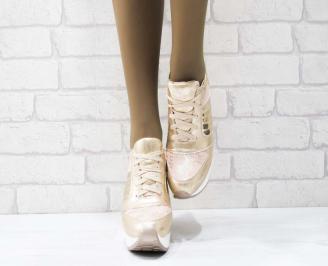 Дамски обувки  на платформа еко кожа розови GUUT-25164