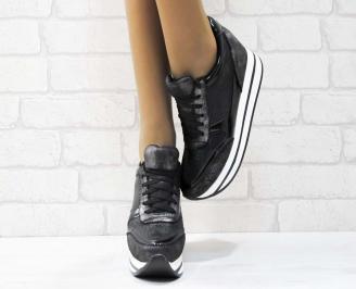 Дамски обувки  на платформа еко кожа черни HTAY-25165