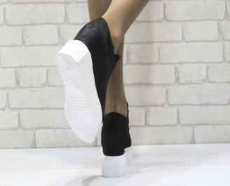 Дамски обувки  на платформа естествена  кожа черни MIYK-25170