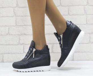 Дамски обувки  на платформа естествена  кожа  сини UTAS-25173