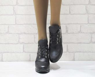 Дамски обувки  на платформа естествена  кожа черни QPSN-25175