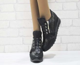 Дамски обувки  на платформа естествена  кожа черни MQMZ-25181