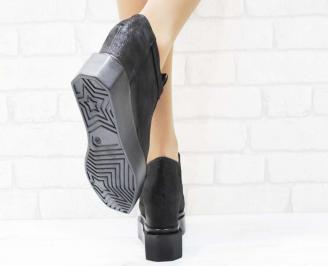 Дамски обувки  на платформа естествена  кожа черни YKIE-25200