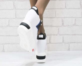 Дамски обувки  на платформа естествена  кожа бели PEVM-25202