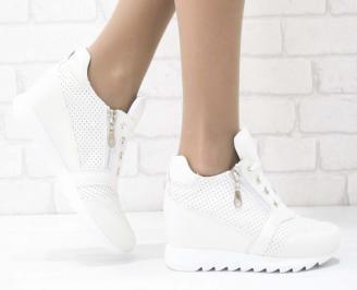 Дамски обувки  на платформа естествена  кожа бежови NRLV-25211