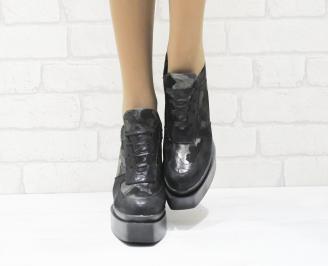 Дамски обувки  на платформа естествена  кожа черни VZBA-25269