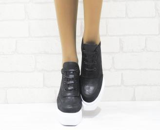 Дамски обувки  на платформа естествена  кожа черни XRRR-25271