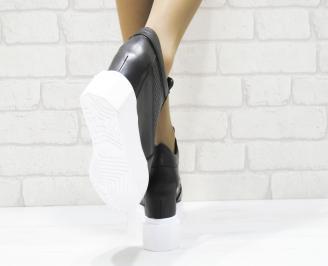 Дамски обувки  на платформа естествена  кожа черни EPWV-25272
