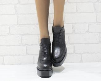 Дамски обувки  на платформа естествена  кожа черни QPMJ-25273