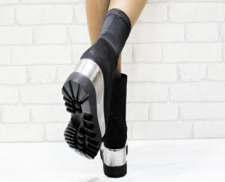 Дамски обувки  на платформа еко велур/текстил черни DCBU-25329