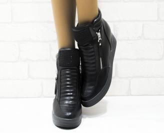 Дамски обувки  на платформа еко кожа черни AKAG-25343