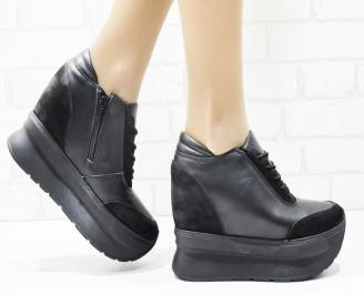 Дамски обувки  на платформа естествена  кожа/набук черни XUIQ-25422