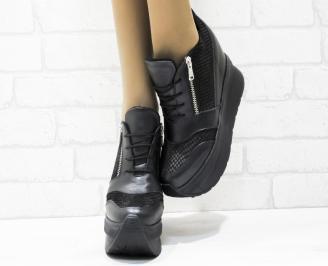 Дамски обувки  на платформа естествена  кожа черни MAZX-25423