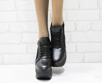 Дамски обувки  на платформа естествена  кожа черни ZJXQ-25424