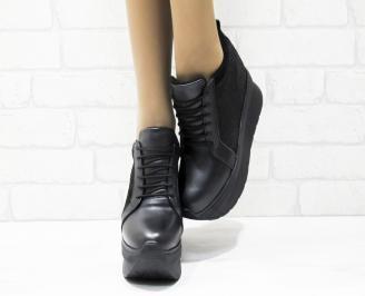 Дамски обувки  на платформа естествена  кожа черни 5