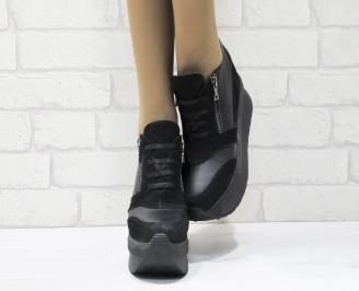 Дамски обувки  на платформа естествена  кожа черни ZIKV-25554