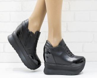 Дамски обувки  на платформа естествена  кожа черни LQPR-25641