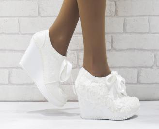 Дамски обувки  на платформа текстил бели ZGKO-25678
