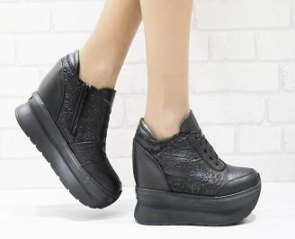 Дамски обувки  на платформа естествена кожа черни KLWK-25693