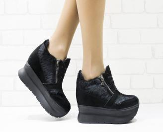 Дамски обувки  на платформа естествена кожа черни ATRK-25873