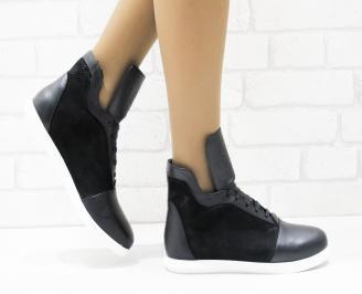 Дамски обувки  на платформа естествена кожа черни DLOP-25874