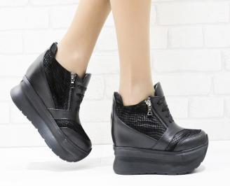 Дамски обувки  на платформа естествена кожа черни RKMS-25875