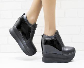 Дамски обувки  на платформа естествена кожа черни PSIF-25876