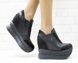 Дамски обувки  на платформа естествена кожа черни IILG-25877