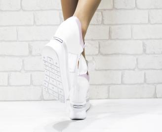 Дамски обувки  на платформа естествена кожа бели QFDY-25878