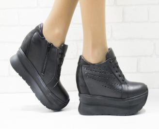 Дамски обувки  на платформа естествена кожа черни ACFQ-25879