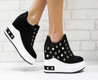 Дамски обувки на платформа еко кожа черни OXZR-25880